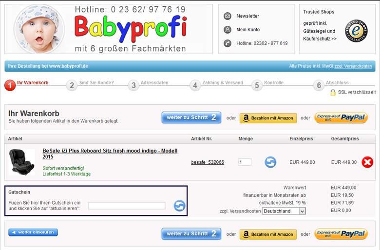 Babyprofi Warenkorb