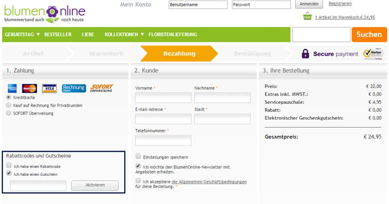 Blumenonline Warenkorb