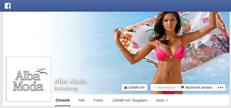 Facebook von Alba Moda