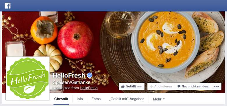 Facebook von HelloFresh