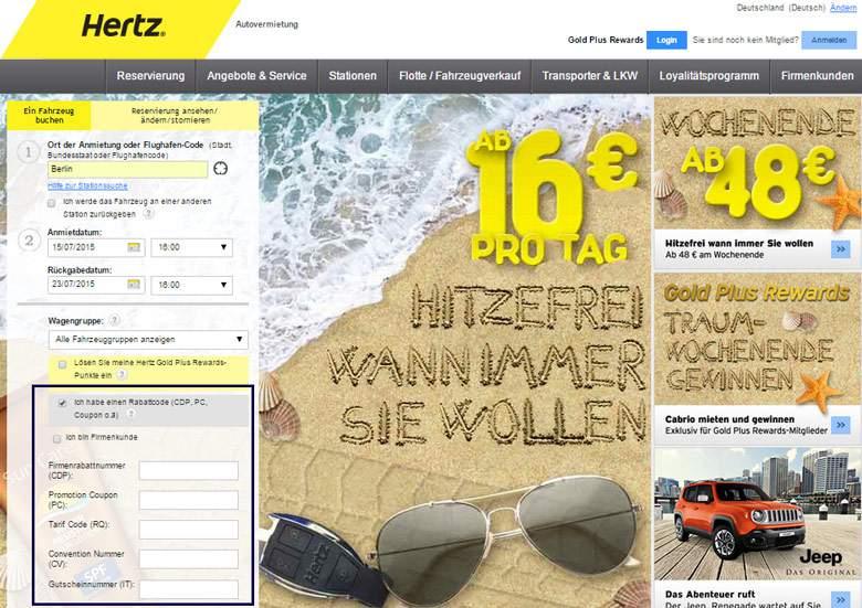 Hertz Bestellung