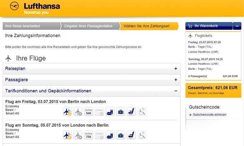 Lufthansa Warenkorb