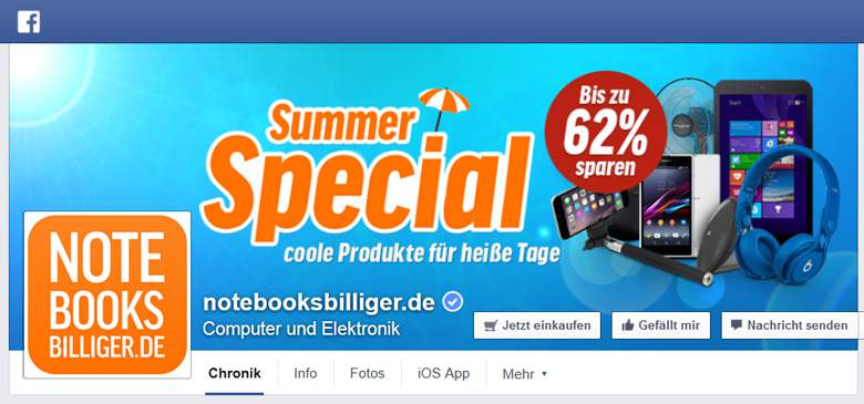 Facebook von Notebooksbilliger