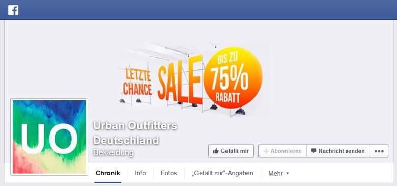 Facebook von Urban Outfitters