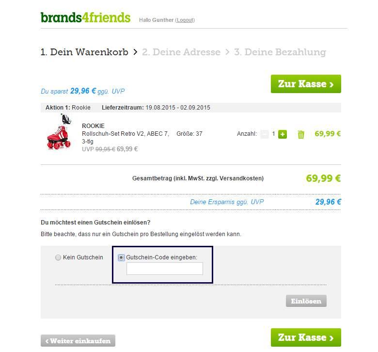 Brands4friends Warenkorb