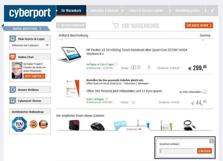 Cyberport Warenkorb