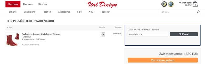 Ital Design Warenkorb