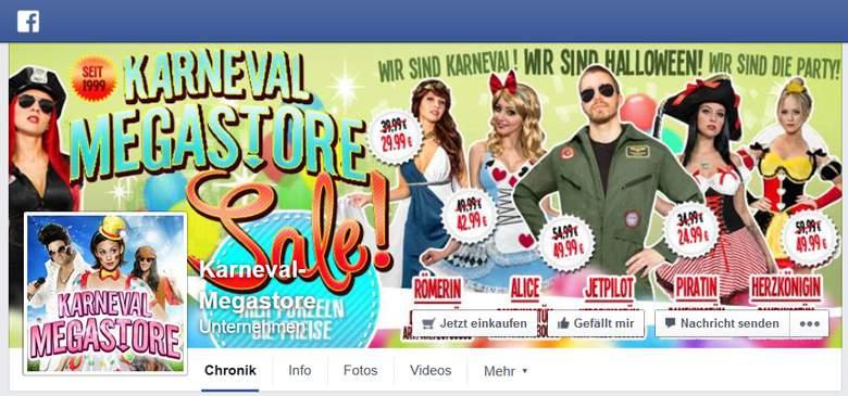 Karneval Megastore bei Facebook
