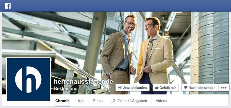 Herrenausstatter bei Facebook
