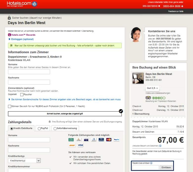 Hotels.com Warenkorb
