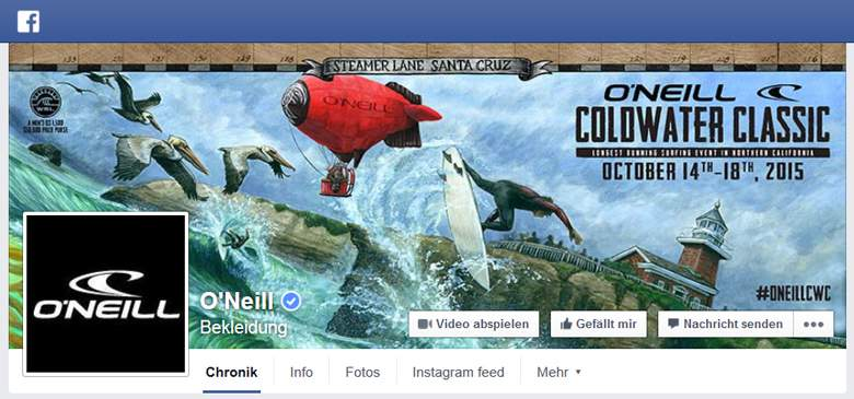 O`Neill bei Facebook