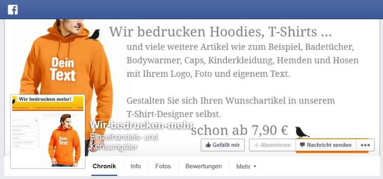 Wir bedrucken mehr bei Facebook